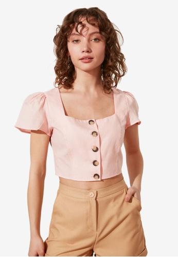 Trendyol pink Petite Button Down Crop Top DDFA5AA4CF9215GS_1