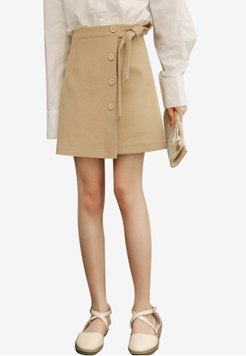 Shopsfashion beige Button Up Wrapped Skirt 25DAFAA5655304GS_1