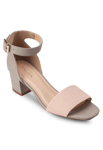 撞色寬帶繞踝粗跟涼鞋, 女鞋, zalora開箱中跟