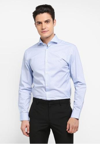 Selected Homme 藍色 長袖印花襯衫 F6B86AA04E9361GS_1
