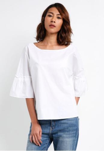 ESPRIT 白色 七分寬袖上衣 7C1E6AA7C56AD4GS_1