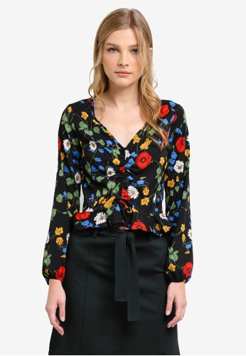 Dorothy Perkins black and multi Poppy Floral Ruched Top DO816AA0S4RIMY_1