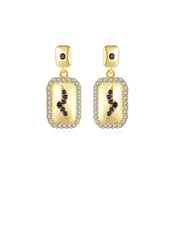 Glamorousky white Fashion and Simple Plated Gold Plated Lightning Pattern Geometric Earrings with Cubic Zirconia 48B42AC7FBBE92GS_1