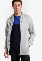 Burton Menswear London grey Grey Zip Through Hoodie BU964AA86ZOFMY_1