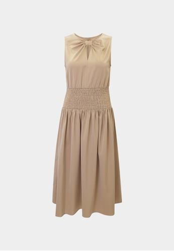 Pomelo brown Bow Neck Elastic Waist Dress - Brown 4DA05AA767E097GS_1