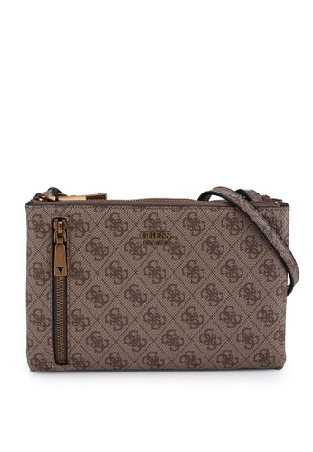 Guess brown Naya Double Zip Crossbody Bag 19624ACF129DABGS_1