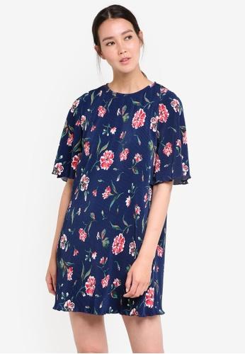 Mango blue and navy Textured Flowy Dress MA193AA58ECNMY_1