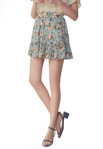 Yoco green Floral Print Mini Skirt F6A04AA39B3183GS_1