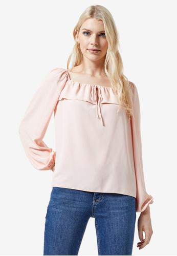 Dorothy Perkins pink Tulip Bardot Frill Front Top 087D2AA52E2594GS_1