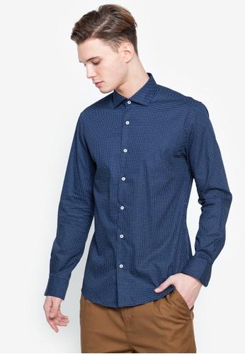 Cortefiel navy Slim Print Dress Shirt CA8D3AA4A5BB95GS_1