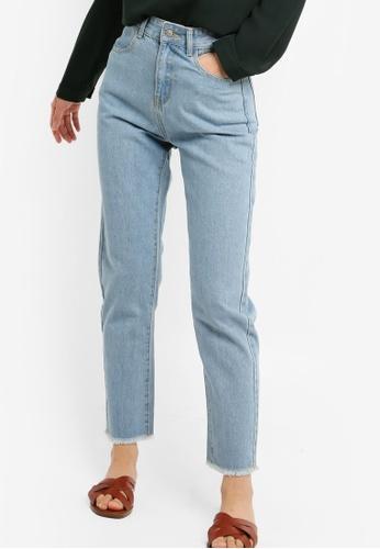 ZALORA BASICS blue Basic Mom Fit Jeans 2D152AAAACE1F6GS_1