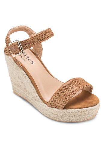 踝帶麻編楔形涼鞋, 女zalora 鞋評價鞋, 鞋