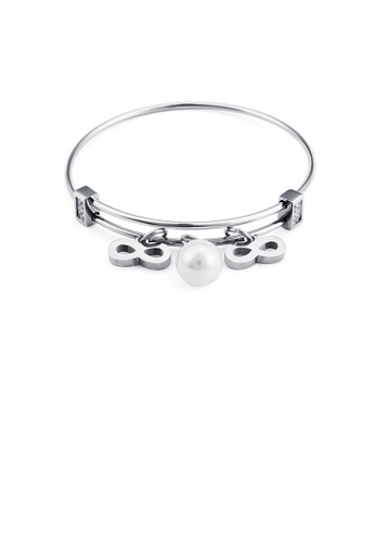 Glamorousky white Fashion Simple Infinity Symbol Imitation Pearl 316L Stainless Steel Bangle CD7CCAC2D37950GS_1