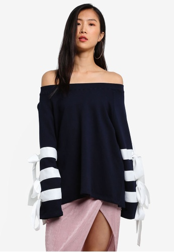 Stylenanda navy Off Shoulder Tie Sleeve Sweat Top ST343AA0RV85MY_1