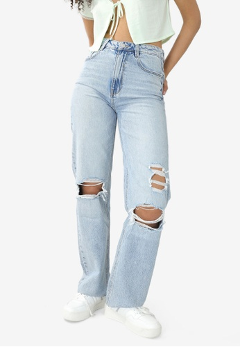 PIMKIE blue Ripped Straight Jeans A6392AA38778D9GS_1