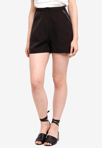 Something Borrowed black Zip Trim Tailored Shorts C2E14AAB4B968FGS_1