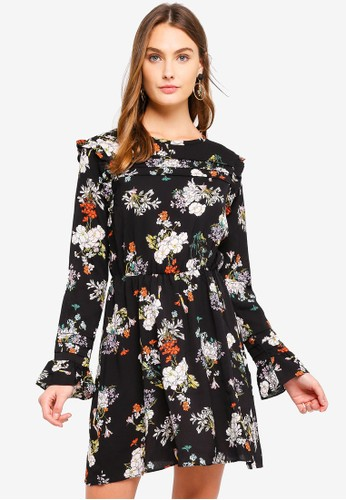 Brave Soul black Floral Print Dress With Ruffle And Pleat Detail 8F714AADDCF13AGS_1