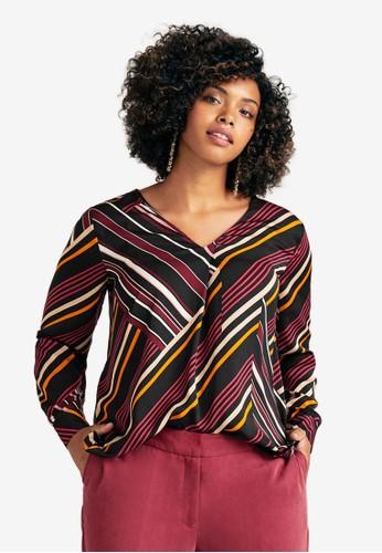 Violeta by MANGO red Plus Size Flowy Striped Blouse D15D0AA336992BGS_1