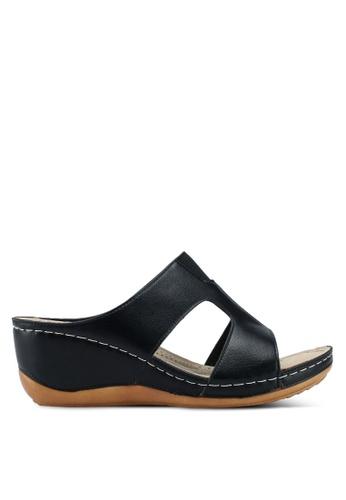Bata 黑色 荔枝皮楔型涼鞋 52F6DSH8E132CBGS_1