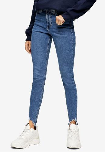 TOPSHOP blue Mid Blue Jagged Hem Jamie Skinny Jeans 73480AA3D4EA0FGS_1