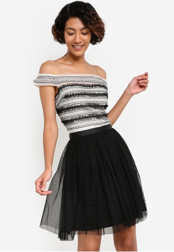 Miss Selfridge black Premium Tulle Bardot Prom Dress MI665AA95BCEMY_1