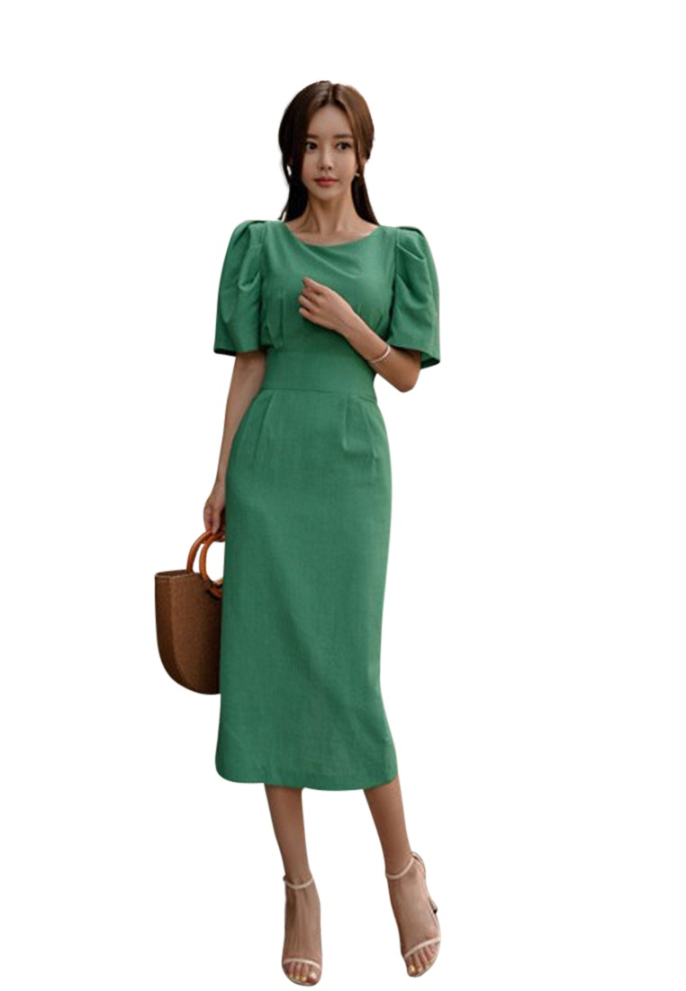 Sunnydaysweety CA071822 Dress Piece Green 2018 Midi Green New One Tunic 8x0vYq