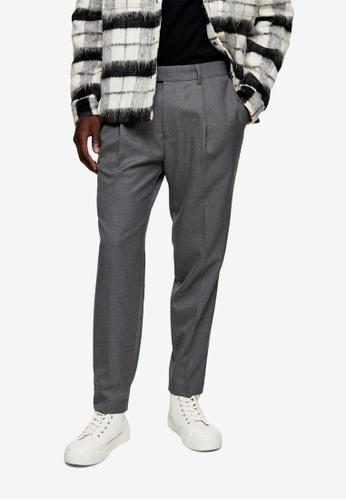 Topman grey Grey Twill Tapered Trousers F6A1DAA9D697C6GS_1