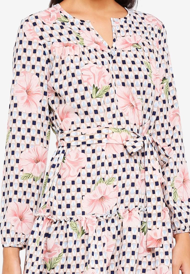 Geo Boho Dress ZALORA Print Floral Relaxed C6qxtwdqW7