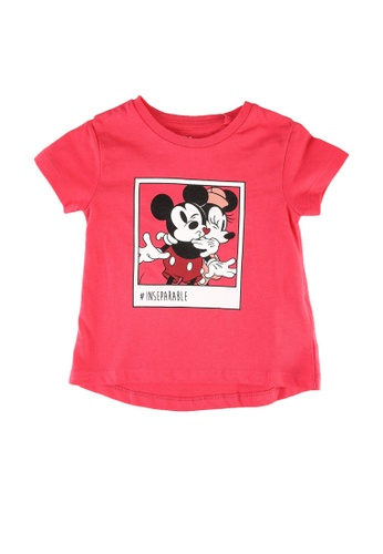 FOX Kids & Baby pink Baby Girls Mickey And Minnie Print Tee 229FCKA4C584ABGS_1