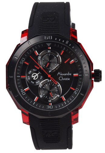 Alexandre Christie red Alexandre Christie - Jam Tangan Pria - Red - Black Rubber Strap - 6552MFRIPREBA 8EE0BACFC24E8AGS_1