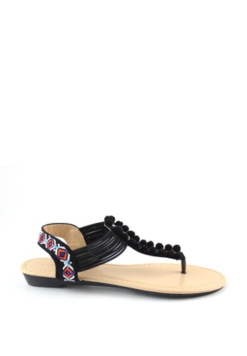 London Rag black Teddi Flat Toe Post Sandals 60C98SH674B569GS_1