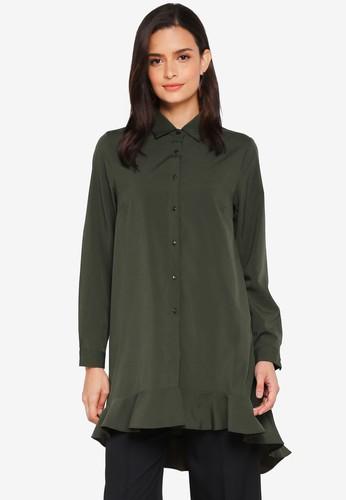 Lubna green Overlap Back Shirt Dress B9672AA7ABDDA8GS_1
