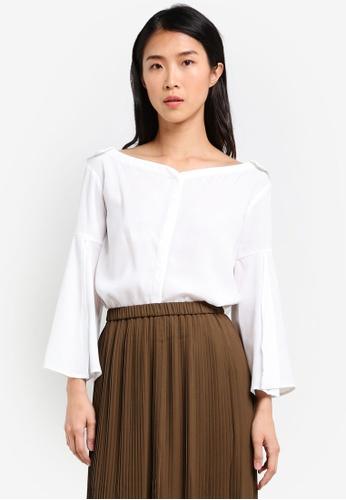 Preen & Proper white Wide Collar Long Sleeve Blouse PR614AA0S9VEMY_1