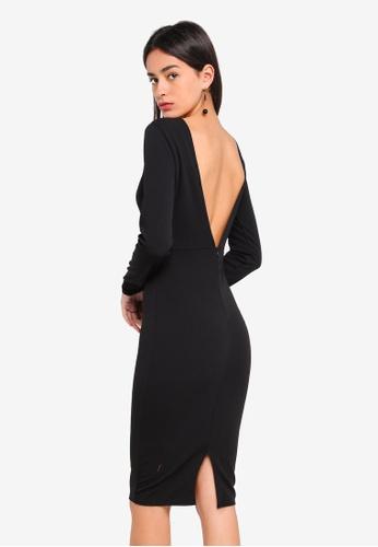2a72abdfe876 MISSGUIDED black Low Back Midi Dress E79E5AA16D8452GS 1