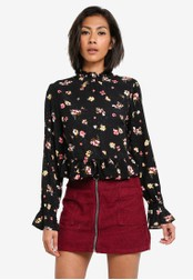 TOPSHOP black and multi Floral High Neck Peplum Blouse TO412AA0S7UIMY_1