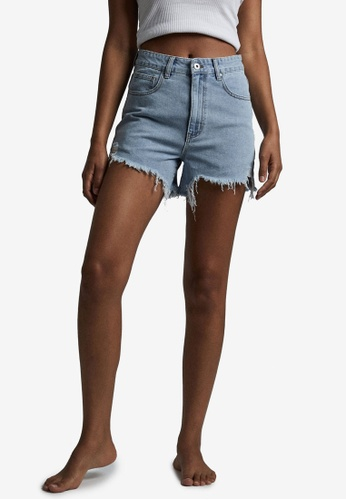 Cotton On blue High Ripped Denim Shorts 8DAD3AAB50ABC7GS_1