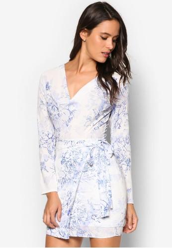垂墜寬V zalora 衣服尺寸領印花長袖連身裙, 服飾, 洋裝
