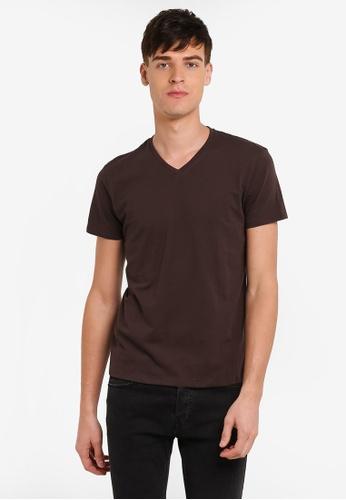 Electro Denim Lab brown Cotton V-Neck Tee EL966AA0RWISMY_1