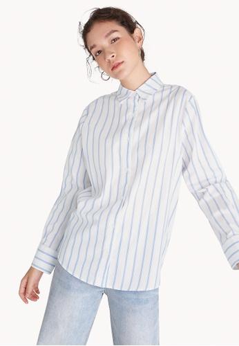 d47c1aa4e10 Buy Pomelo Striped Button Down Shirt - Blue Online on ZALORA Singapore