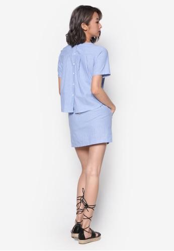 條紋腰飾連身裙, 服飾, 洋esprit tw裝