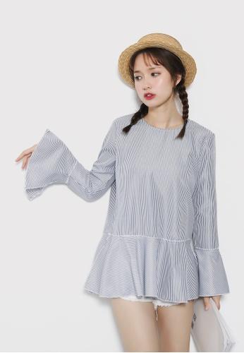 Shopsfashion blue Flare Sleeve Blouse in Fine Blue Strip SH656AA72UPFSG_1