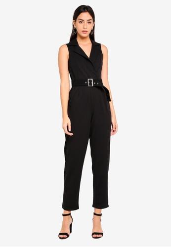 Dorothy Perkins black Tux Belted Jumpsuit 941B5AAFC1FAEFGS_1