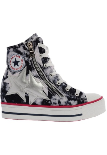 Maxstar C2 30 7 Holes Denim Single Line White Platform High Top Sneakers MA164SH47CIISG_1