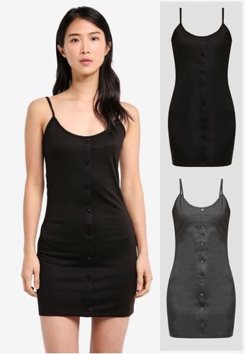 181e4707a11c ZALORA BASICS black and grey 2 Pack Essential Button Front Cami Dress  ZA424AA0NP1KPH_1