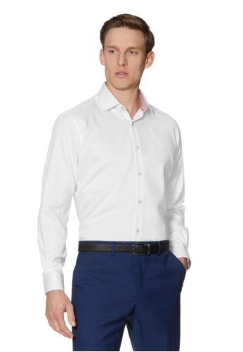T.M. LEWIN white T.M.Lewin Circle Dobby White Single Cuff Shirt C1B61AA289A098GS_1