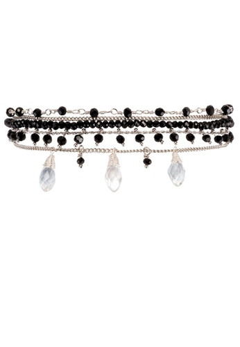 HIPANEMA black and multi and silver Medium multi chain beaded bracelet Diego black 102D2AC9908158GS_1