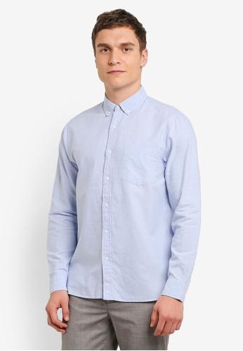 Topman 藍色 藍色 扣 Down Oxford 襯衫 TO413AA0SC20MY_1
