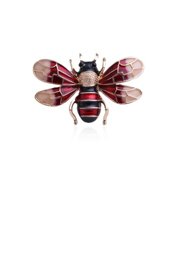 Glamorousky silver Fashion and Lovely Plated Gold Red Bee Brooch D8076AC3E5DE74GS_1