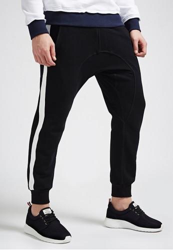 韓系街頭。輕薄細esprit高雄門市絨。拼接棉褲-07346-黑, 服飾, 直筒褲
