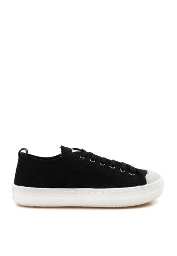 J.DAUL 黑色 經典厚底真皮帆布休閒鞋 JD556SH09Q52TW_1